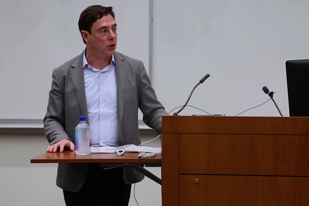 Professor Dov Waxman speaks at a lecture
